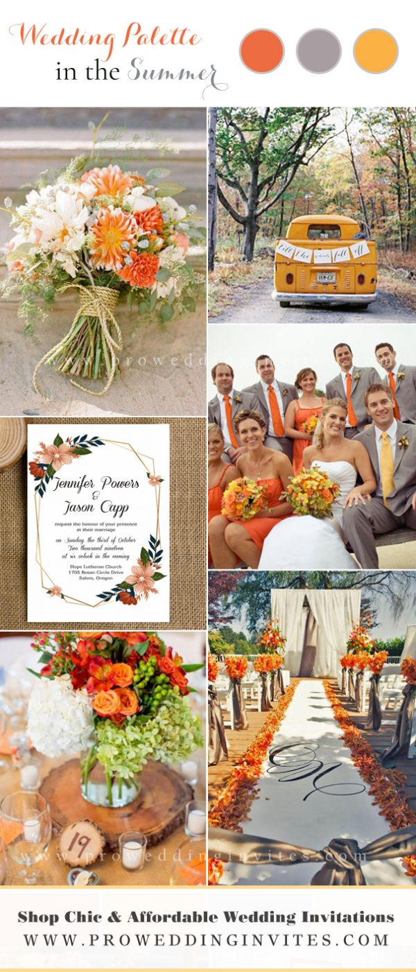 Vibrant and Colorful Summer-flowers-Inpired Weddings: Orange and Gray.