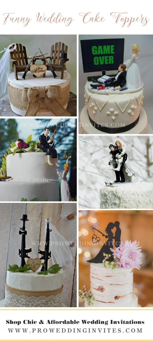 Funny cute wedding cake toppers - pro wedding invites