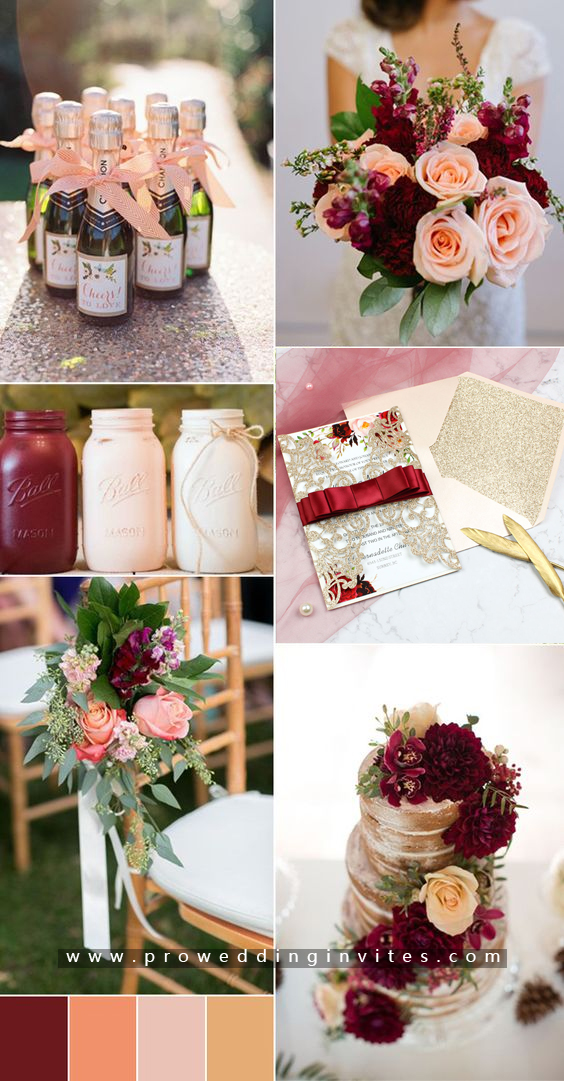 Inspirational burgundy and peach wedding color boards
