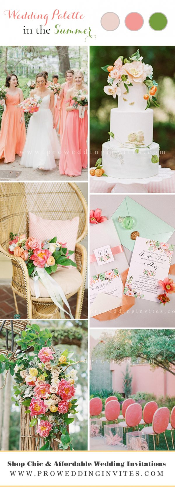 Modern Country-Styled Summer Wedding Color Palette: Blush hues, mint and jade.
