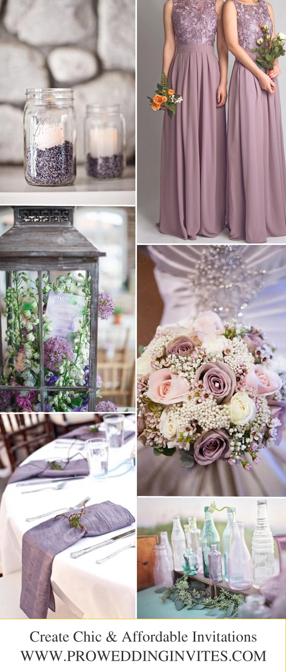 Plum + Lavender + Greenery Fall Wedding Color Palettes with Matched Wedding Invitations