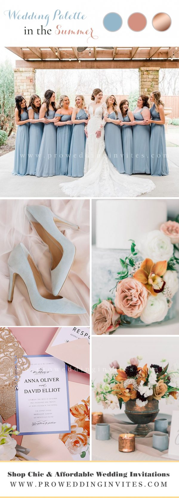 Contemporary Elegant Garden Style Wedding Color Palette: Dusty Coral, Copper and Dusty Blue