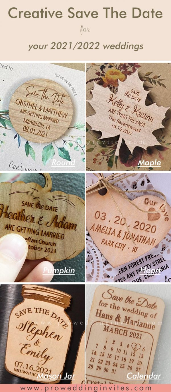 RUSTIC WOODEN CARVED Save The Date Cards