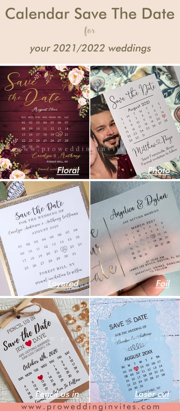 Calendar Save The Date Enclosure Card