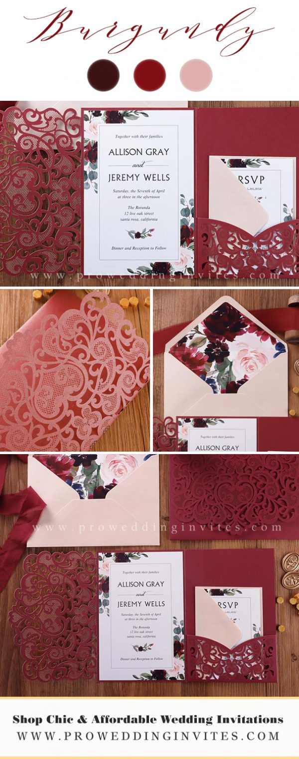 Burgundy and blush color palette conveys elegance and pureness. You can add the color of pink into any element of your wedding. Get inspirations for your romantic burgundy and blush pink wedding – from