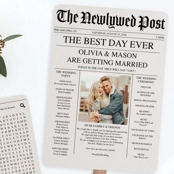 This newspaper themed save-the-date is adorable. If you want to share plenty of details about your love story or wedding plans, this could be the template for you.