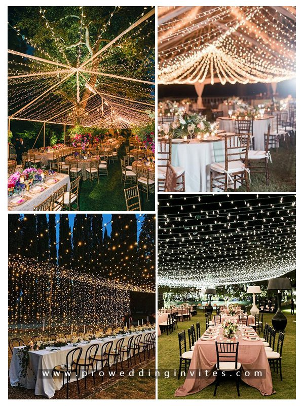 Chic and Elegant Light String Candle Wedding Decoration Ideas