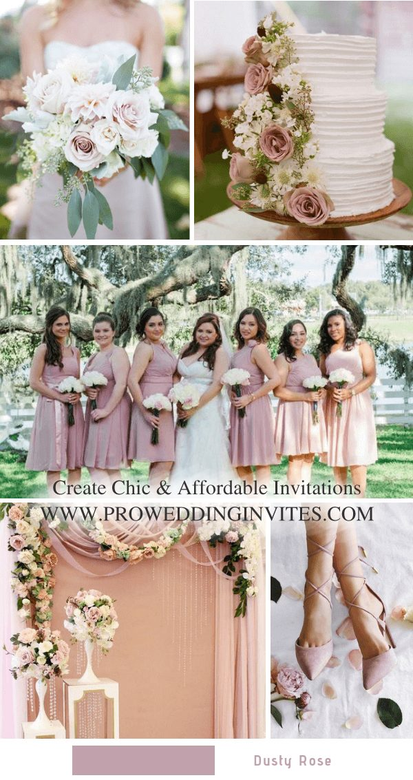 Dusty rose is perfectly accented with it. From wedding party dresses to the decorations, invitations, cakes, the combination is a visual treat for sure. Dusty rose bridesmaid dresses make girls look feminine and appealing.