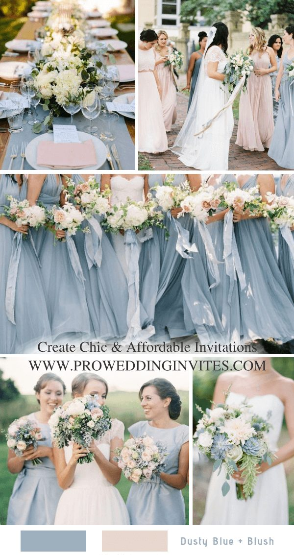 Dusty blue is a spring color with elegance and beauty. It's no more pretty than a bride in white gown with the girls in dusty blue bridesmaid dresses with white and dusty blue bouquets standing in line in a March day.