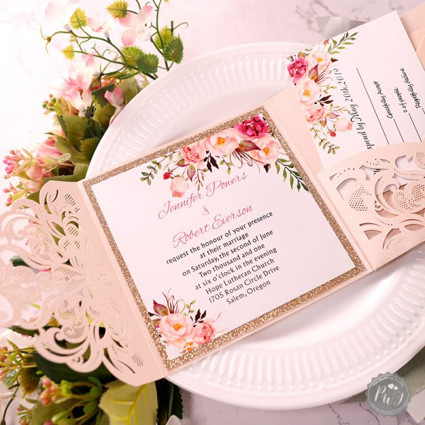 Blush, rose gold and green palette is beautiful and romantic and ideal for brides who want a fresh and trendy look for spring. A delicate touch of green mixed with a soft spring blush can help you achieve your dreamy wedding. The blush shimmer laser cut wrap with the classic invitation and rose gold glittery backer will impress your guests no matter the season.
