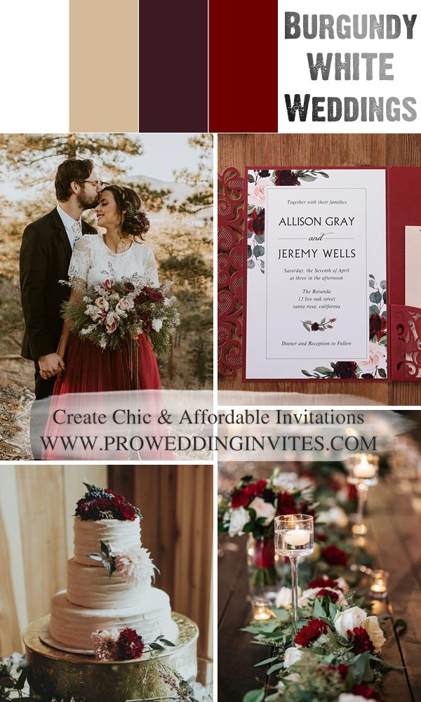 2021 Wedding Color Scheme Trends: Burgundy and White
