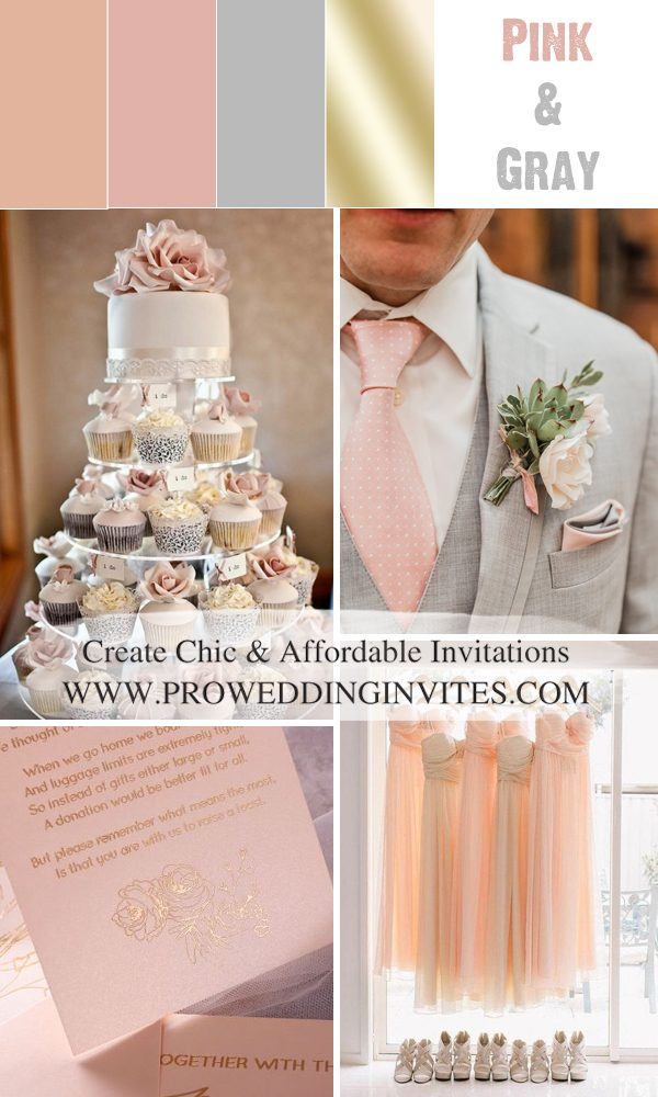 Beautiful Pink and Grey Wedding Colors with Matched Invitations