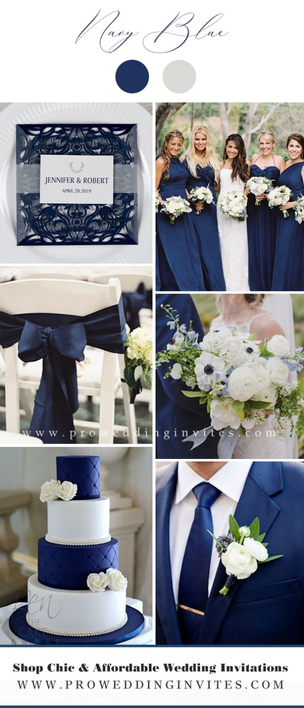 Navy Blue and White Wedding Color Ideas - Pro Wedding Invites