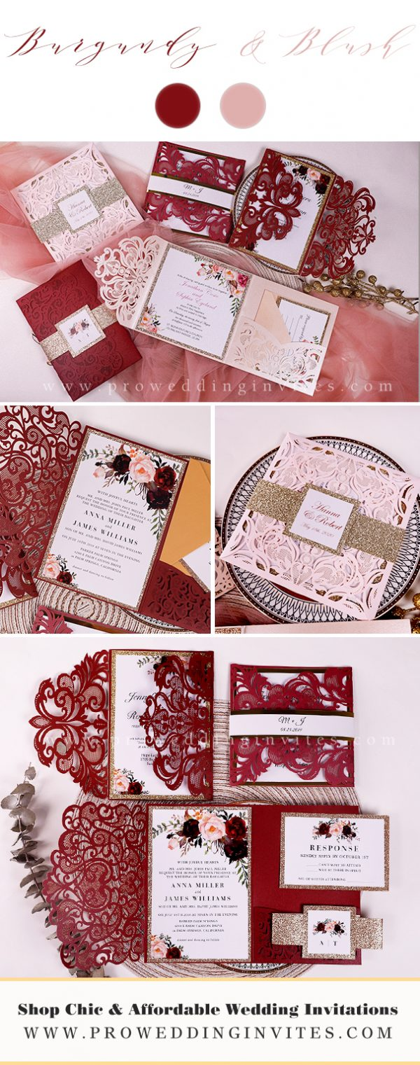 Winter New Year Eve Wedding - Burgundy Moody Real Wedding - Pro Wedding Invites