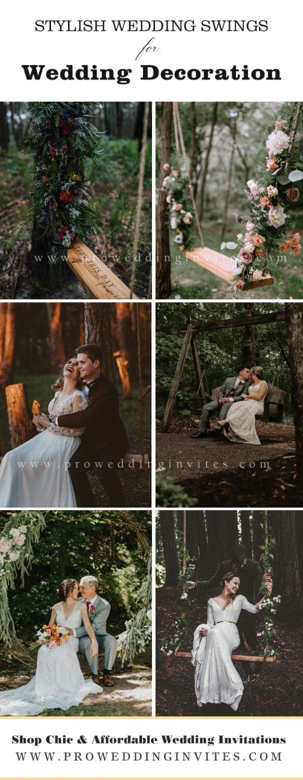 Every forest wedding should have one! Create a wonderful floral or green swing for having fun together and feeling dreamy!