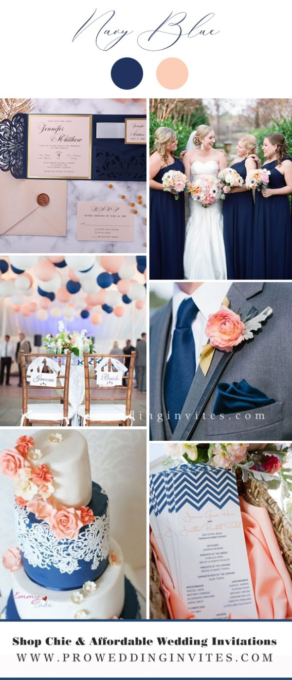 Navy Blue and Peach Wedding Color Ideas