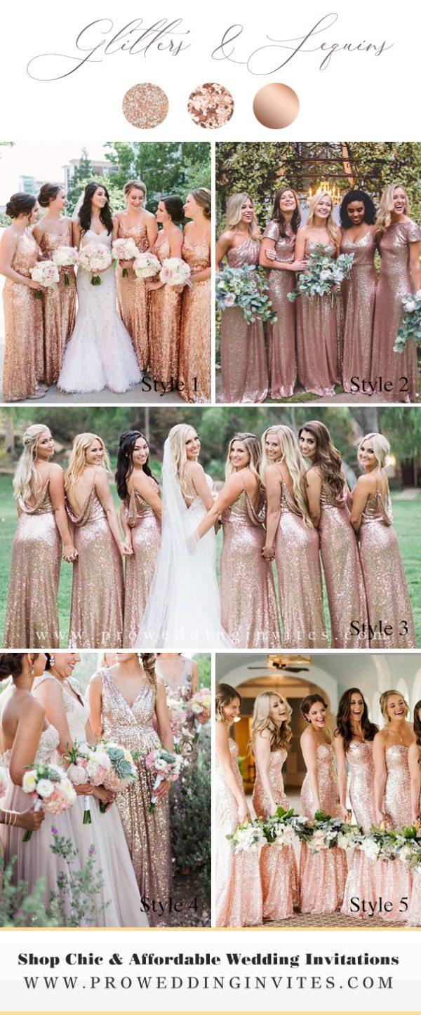 Elegant Rose Gold Long Sequin Bridesmaids Dresses - Pro Wedding Invites