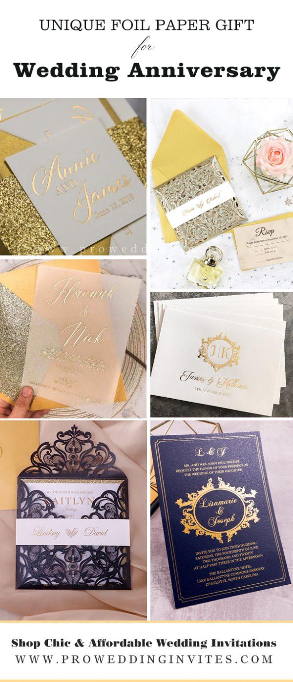 DIY Luxury Foil Wedding Anniversary Cards