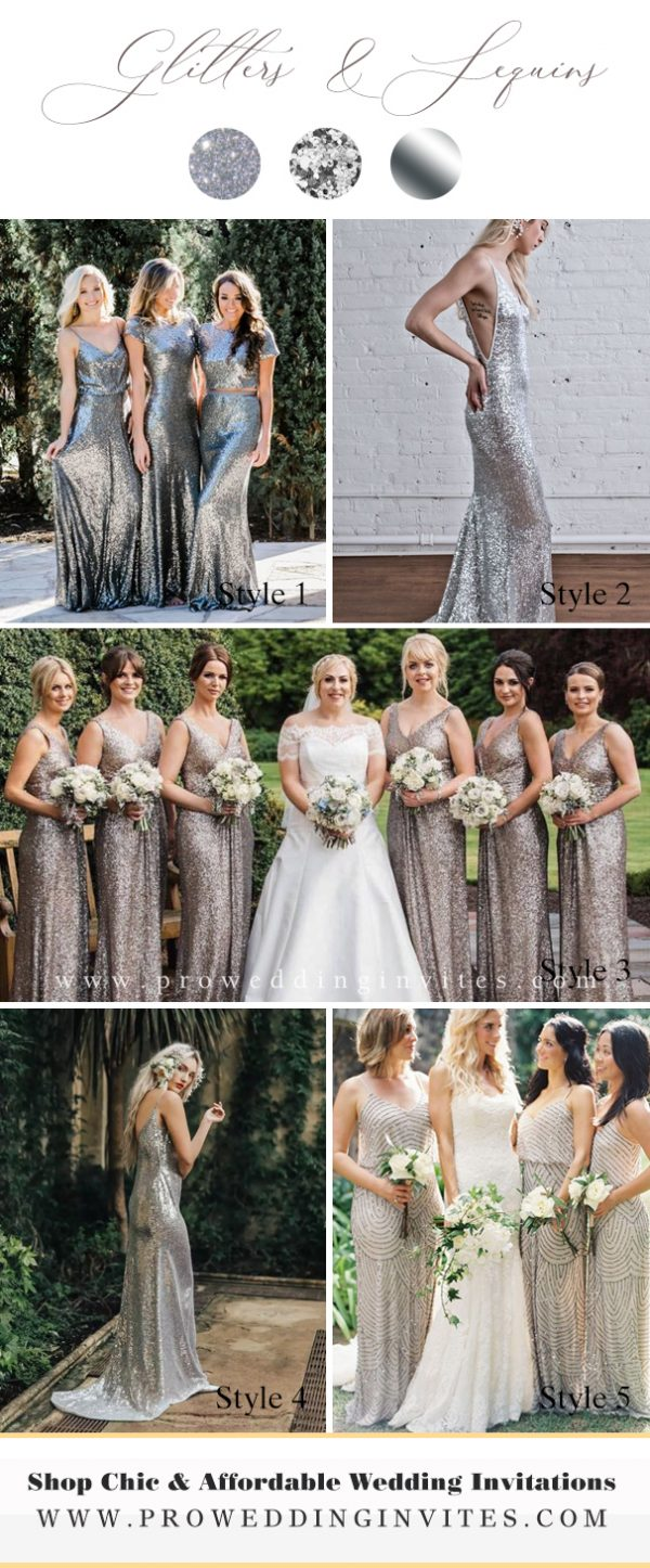 Elegant Silver Long Sequin Bridesmaids Dresses - Pro Wedding Invites
