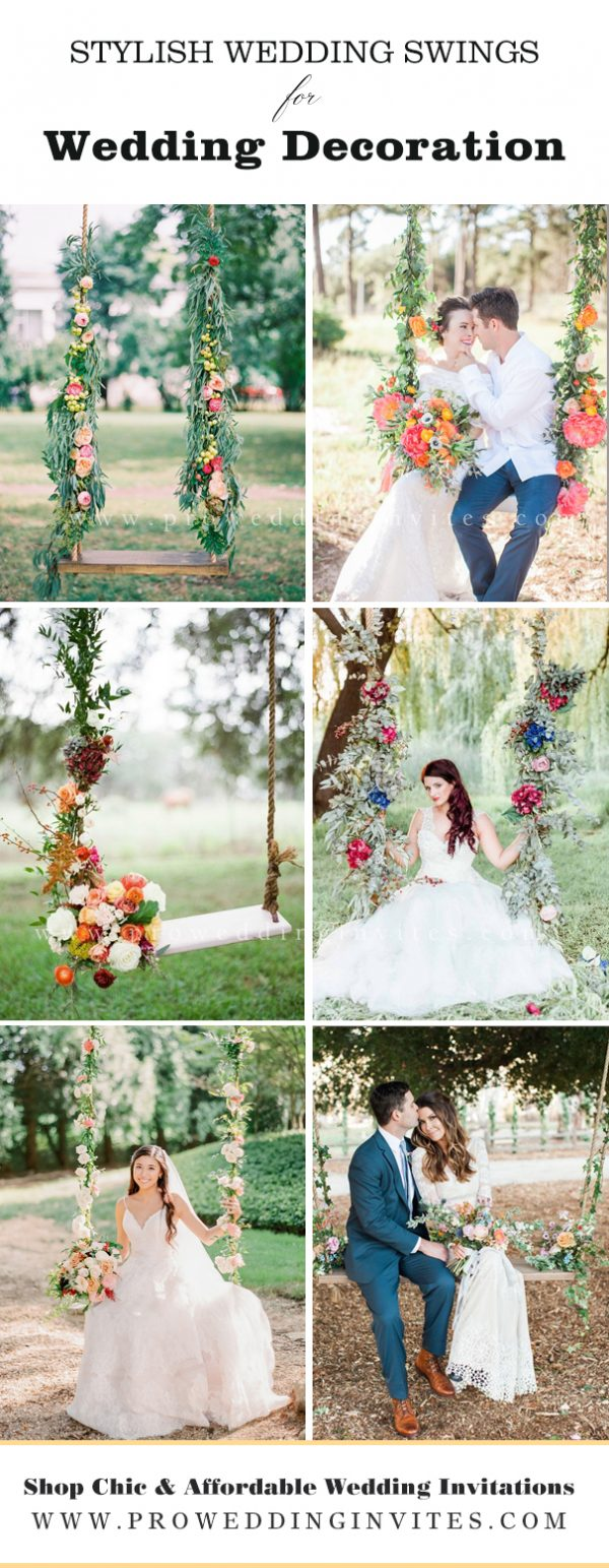 Bright and colorful summer wedding decoration couldn't miss out a floral adorned swings. A cute wedding swing on farm could do something like this.