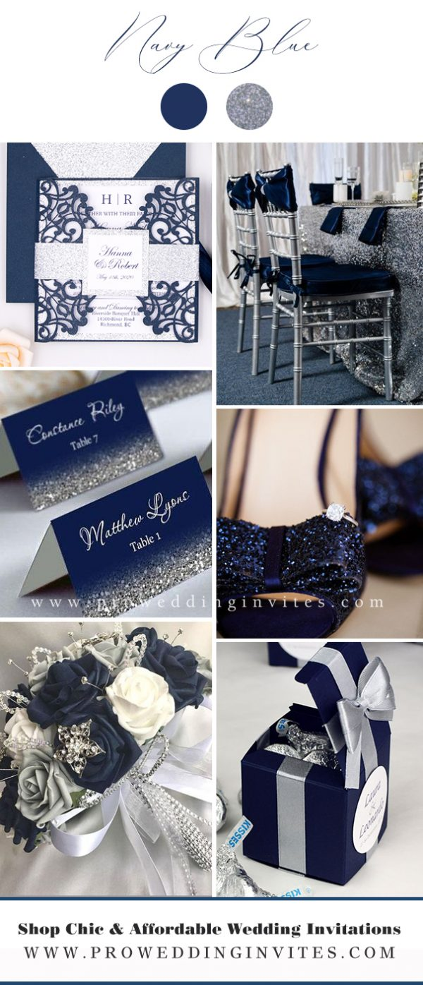 Navy Blue and Silver Wedding Color Ideas