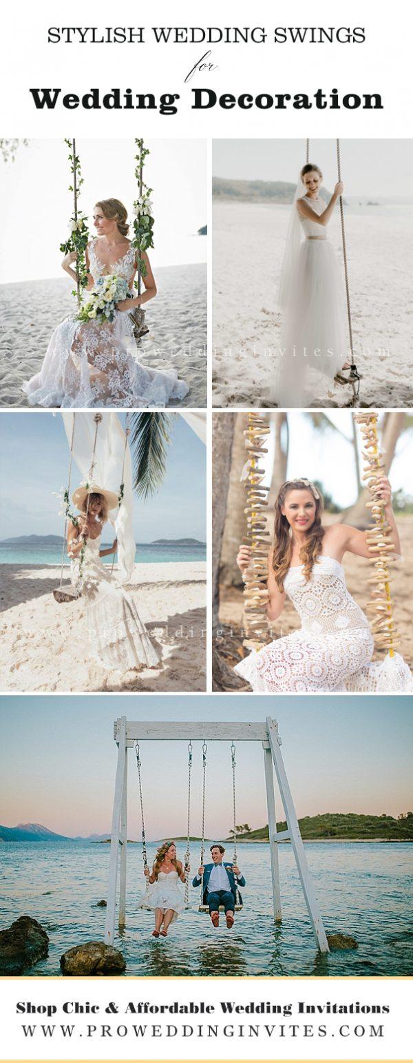 Swings on the sea wedding photography
