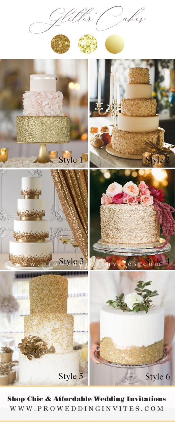 Wedding Cakes with Glitter Details - Pro Wedding Invites