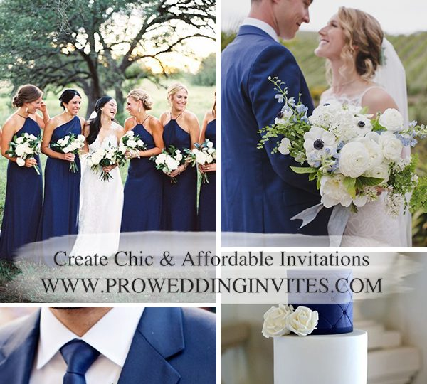 Navy Blue Wedding Color Combos with Matched Wedding Invitations