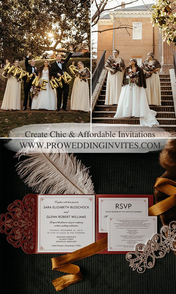 Winter New Year Eve Wedding – Modern Burgundy and Gold Real Wedding