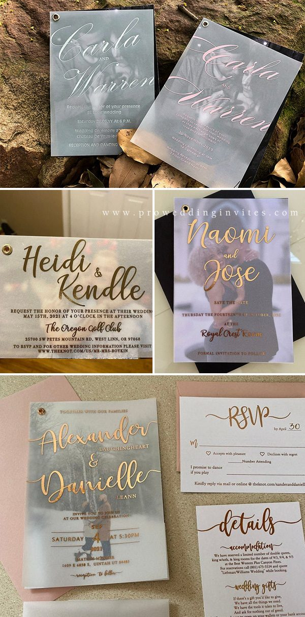 Modern vellum wedding invitation backed with a personalized photo from Pro Wedding Invites will definitely leave every guest impressed.