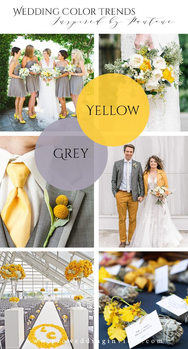 Grey & Yellow Spring Wedding Colors Inspired by Pantone
