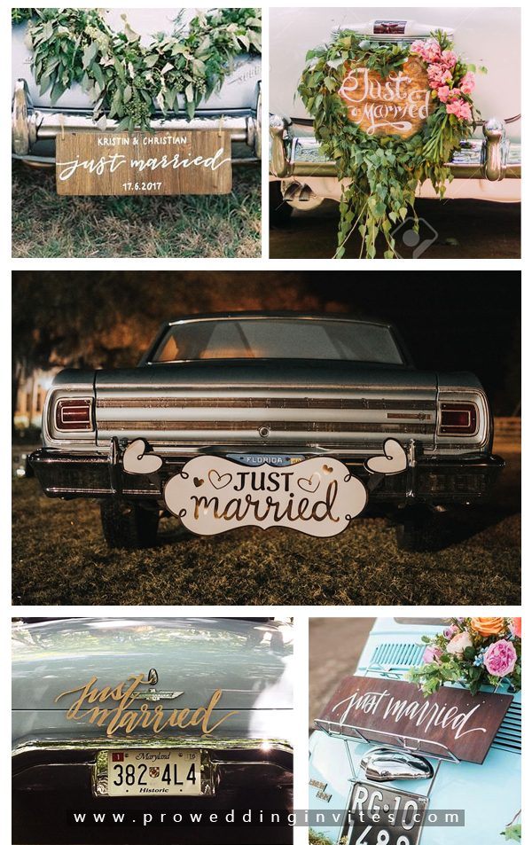 Just Married Wooden Sign-30+ Creative Ideas to Decorate Your Wedding Car
