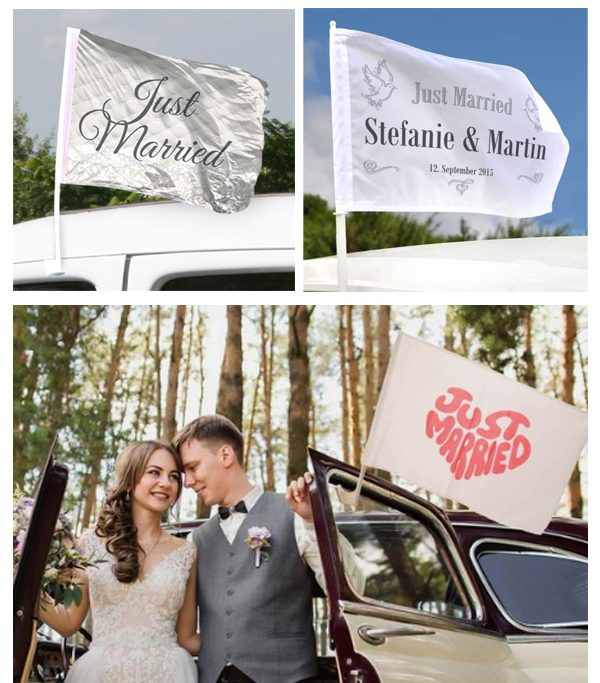 Just Married Car Flag-30+ Creative Ideas to Decorate Your Wedding Car