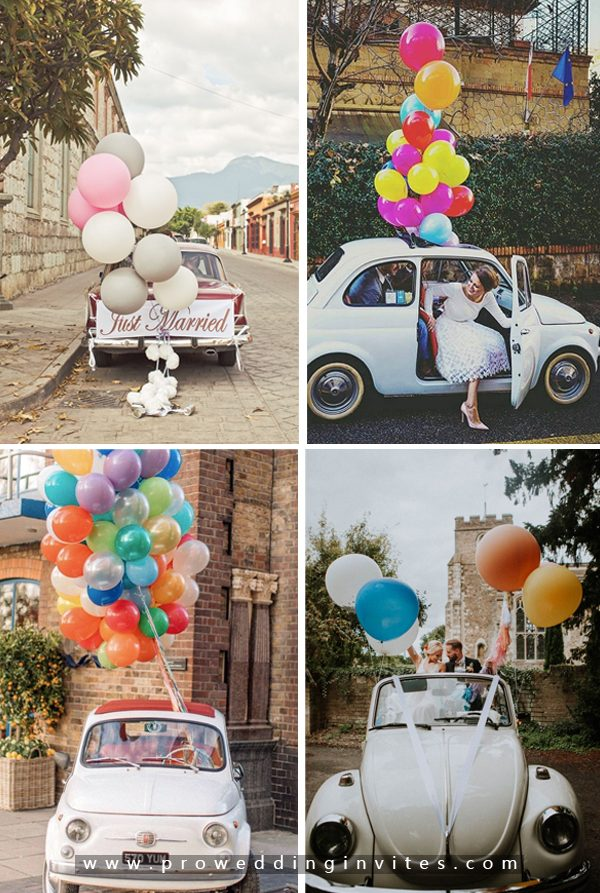 Balloons-30+ Creative Ideas to Decorate Your Wedding Car