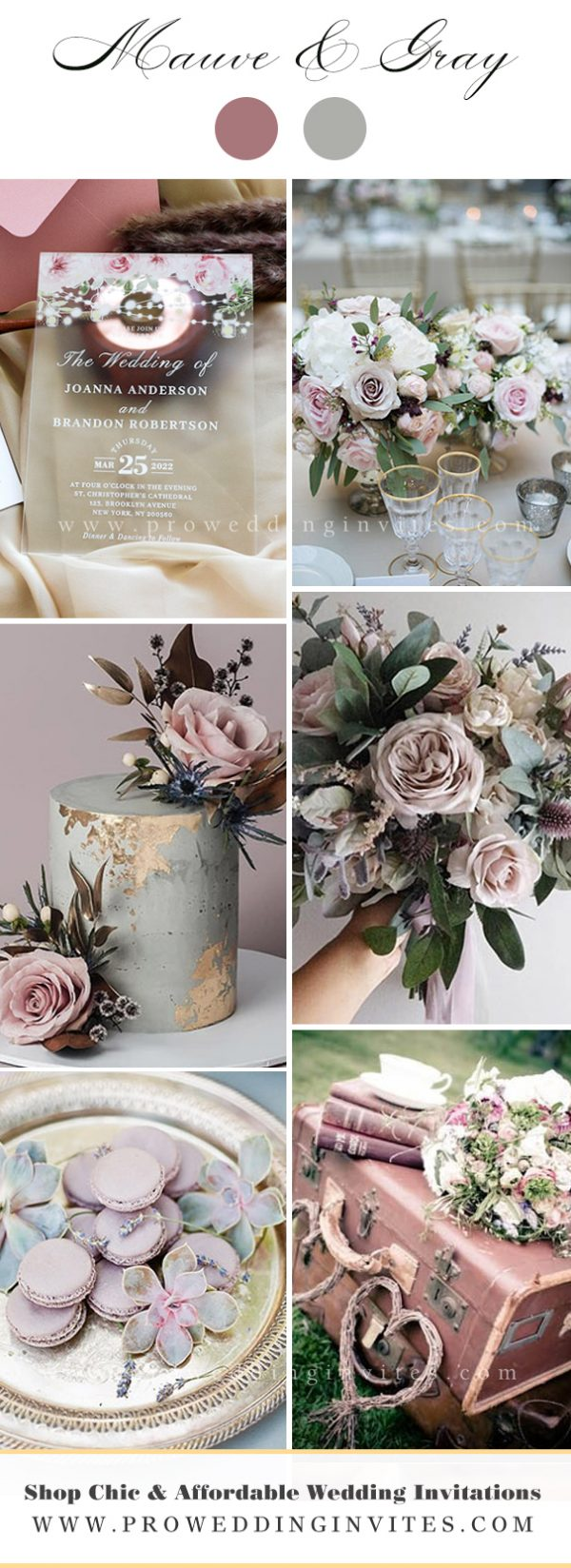 Mauve and Gray Wedding Wedding Color Ideas with Matching Invitations