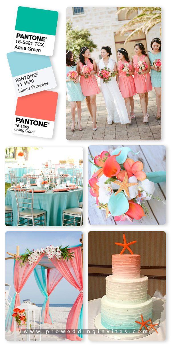 Island Paradise/Aqua and Coral Wedding Color Ideas