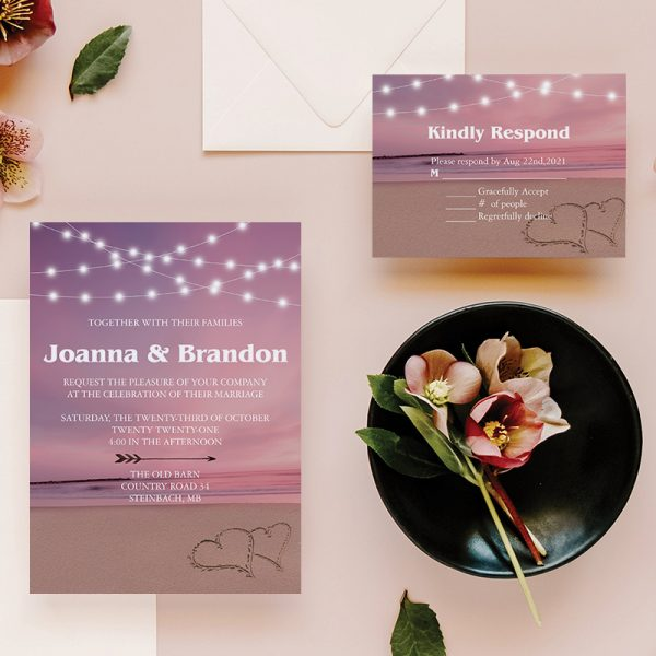 Sunset Beach Wedding with Mauve Wedding Wedding Color Ideas with Matching Invitations