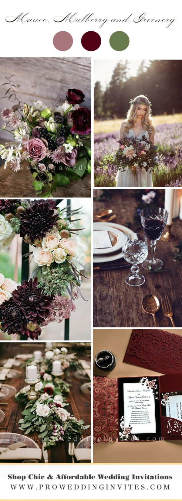 Mauve, Mulberry and Greenery Wedding Wedding Color Ideas with Matching Invitations