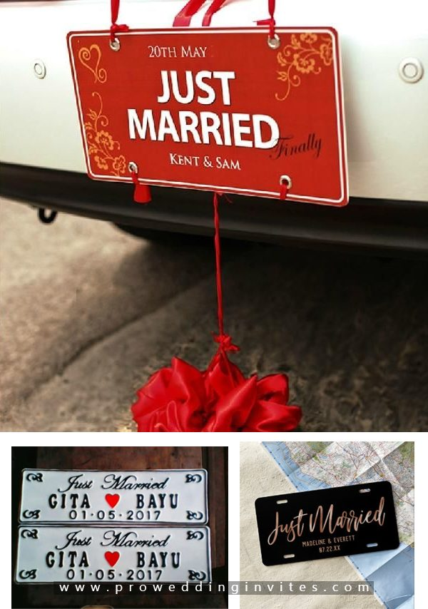 Custom Just Married License Plate-30+ Creative Ideas to Decorate Your Wedding Car