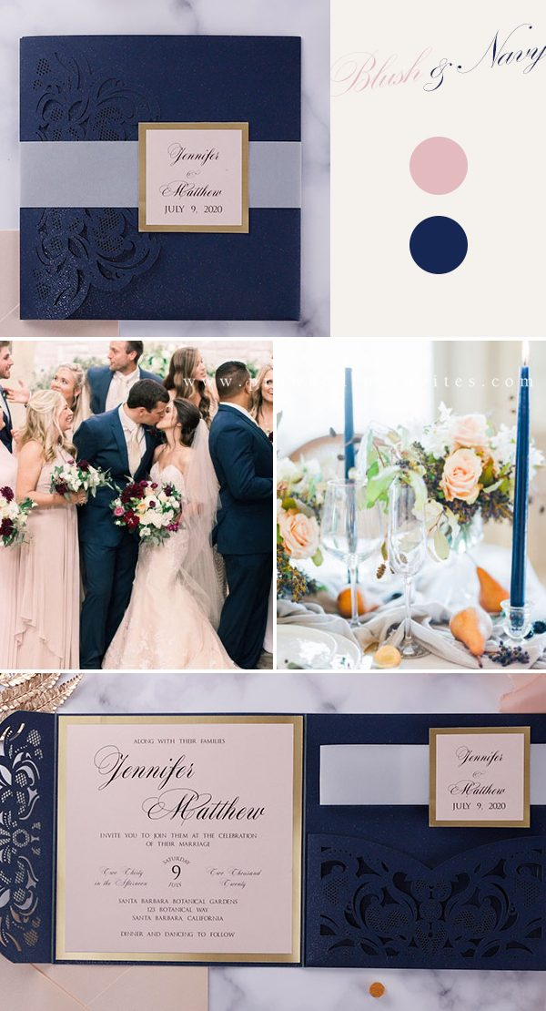 This invitation is wrapped with vellum bands and it perfect for the classic and elegant wedding you're planning.