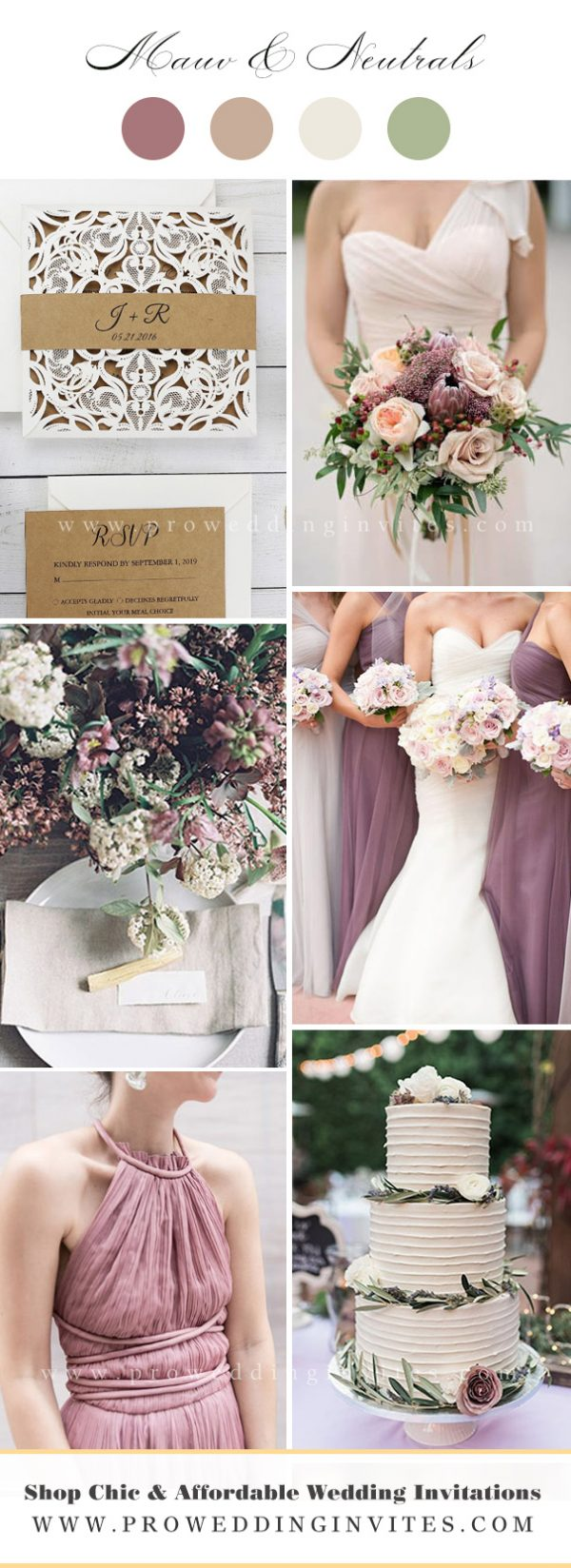 Light Mauve, tan and Neutrals Wedding Wedding Color Ideas with Matching Invitations
