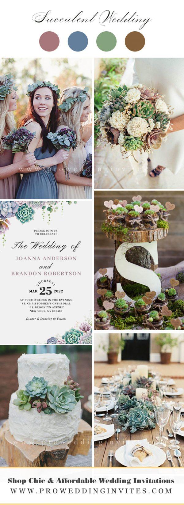 Mauve Succulent Wedding Ideas Wedding Wedding Color Ideas with Matching Invitations