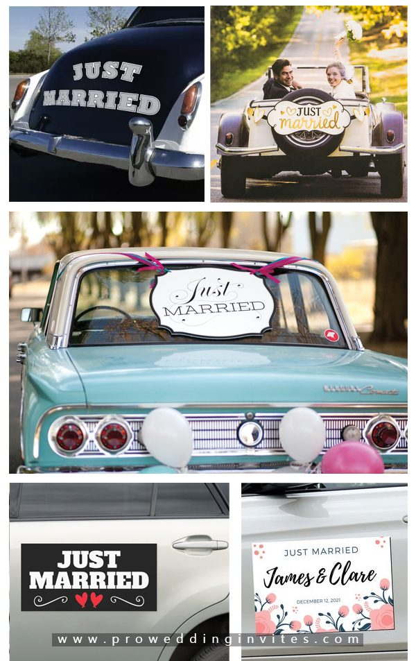 Just Married Magnet -30+ Creative Ideas to Decorate Your Wedding Car