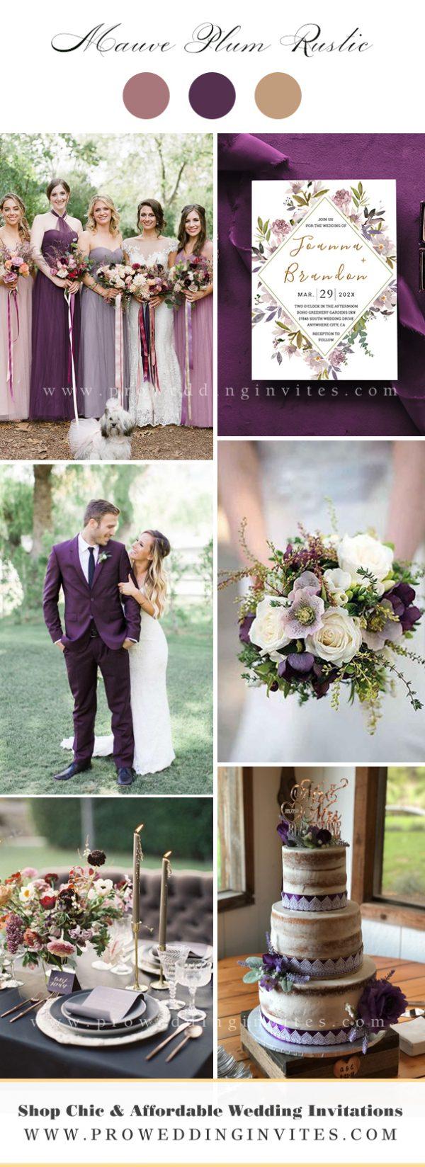 Mauve, plum green rustic wedding ideasn Wedding Ideas Wedding Wedding Color Ideas with Matching Invitations