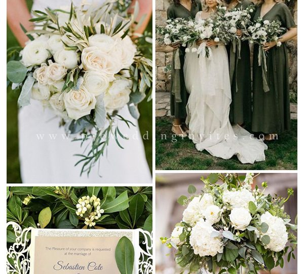 DIY Olive Organic Greenery Wedding Ideas with Color Combos