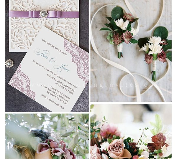 10 Prettiest Mauve Wedding Color Ideas with Matching Invitations