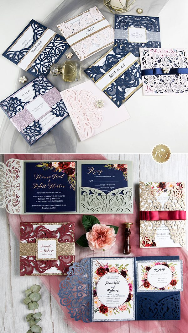 Customize More Navy Blue Wedding Invitations for you BIG DAY!