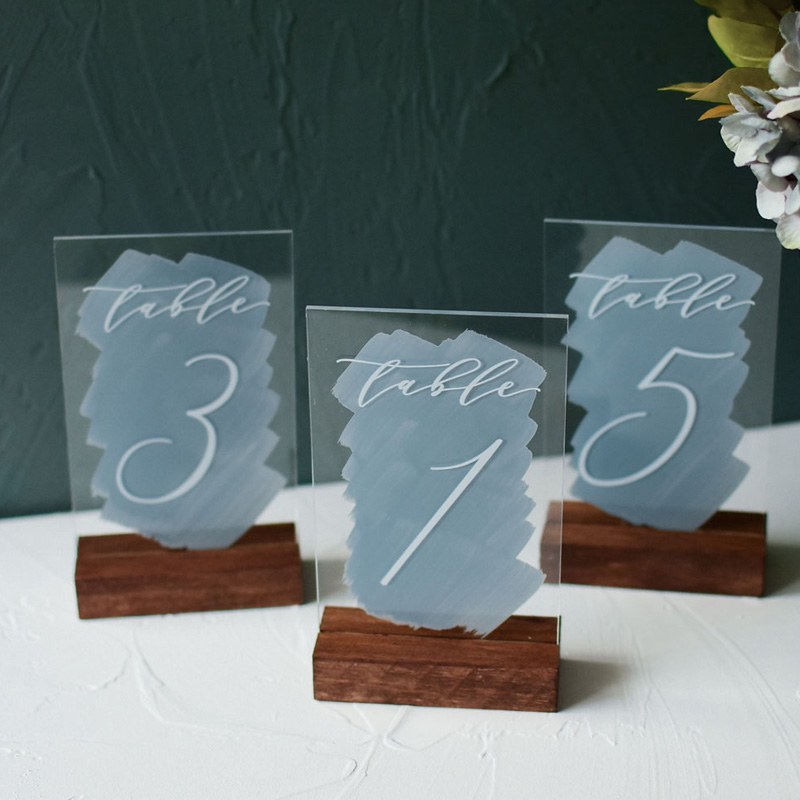 dusty blue color brush cards and gifts wedding table cards