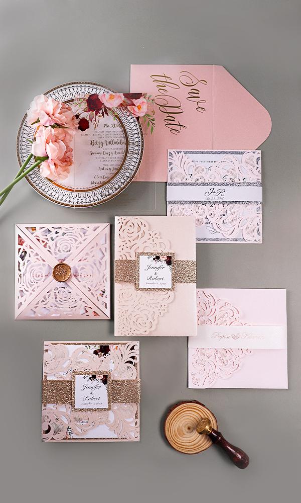 unique colorblock acrylic wedding invitation suite