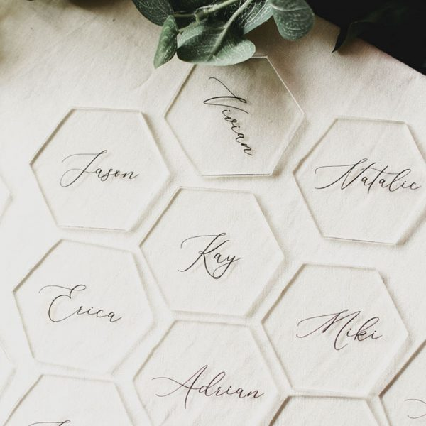 unique hexagon shape clear acrylic wedding name tag